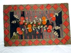 431.Late 19th century Canadian hooked rug made by a Mrs.Goetz. Found near Clifford Ont.,near a Mennonite community.In Excellent condition and ready to hang.Same person as the above dog and hunter rug and #432. 46in by 29in( 115cm by 72cm). $2700.00
