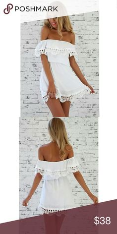 NWOT! Bohemian Style Sundress with Lace Edges Adorable off-the-shoulder dress with great lace detailing around the edges. Perfect for summer and the upcoming festival season!  You can wear it off the shoulders but also asymmetrical with only one shoulder off. Dresses