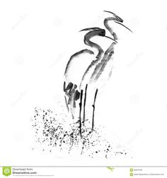 beautiful-gallant-stork-heron-crane-love-ancient-monochrome-black-ink-japanese-painting-sumi-e-hand-drawn-backdrop-sketchy-art-84291339.jpg (1300×1390)