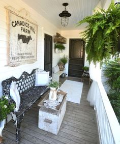 Our Farmhouse Porch Makeover Poster Used Lighting Curtains Antique Bench And Vintage Sign Galvanized Buckets Ferns Lots Of Interior