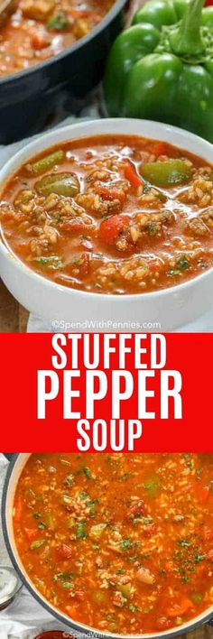 Stuffed Pepper Soup is an easy soup recipe. In this family favorite, ground beef and sausage is simmered along with bell peppers, tomatoes and seasonings. Add in rice to serve. It freezes well and reheats beautifully! recipes with ground beef Stuffed Pepper Soup, Stuffed Green Peppers, Diet Soup Recipes, Dinner Recipes, Rice Recipes, Paleo Soup, Dinner Ideas, Recipies, Cabbage Diet