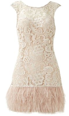 Lace and ostrich feather trim 1920s short dress in blush hues (same with this one in terms of colour, wouldn't suit me, but i love the look and fit!)