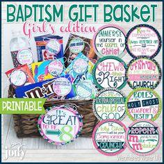 Baptism gift basket Girls edition Baptism gifts Baptism | Etsy Lds Object Lessons, Baptism Talk, Printable Planner, Printables, Girl Gift Baskets, Baptism Gifts For Girls, Baptism Favors, Lds Baptism Ideas, 8th Birthday