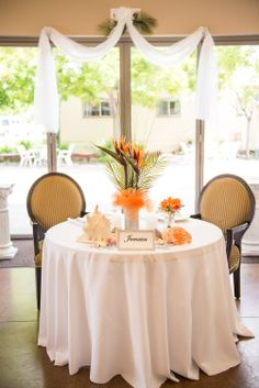The bride and groom charming island table.