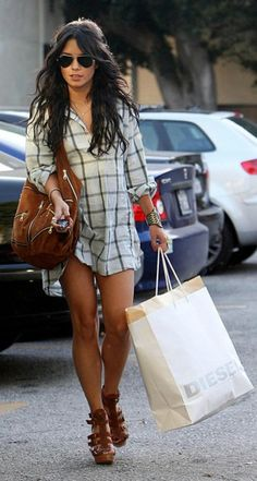 Vanesse Hudgens in a plaid shirt dress and strapped sandals