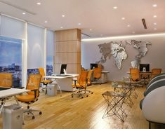 Travel Agency Office Interior on Behance Corporate Office Design, Corporate Interiors, Office Interior Design, Office Interiors, Design Commercial, Commercial Office Space, Travel Office, Tourist Office, Agency Office