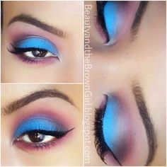 Bright Blue and Purple using #Mac Electric Eel and #Sugarpill Poison Plum eyeshadows!
