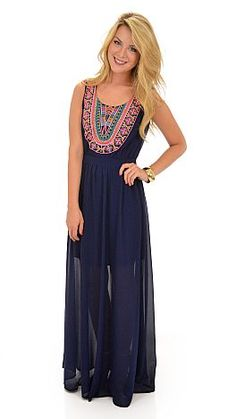 Did someone say pretty?! This maxi is a rich navy color with just the right amount of detailing to make it pop!  $54 at shopbluedoor.com