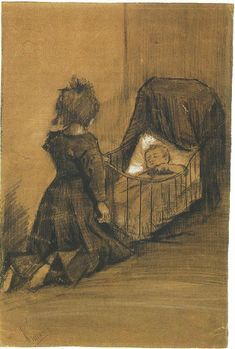 Vincent van Gogh: The Drawings (Girl Kneeling by a Cradle, The Hague: March, 1883)
