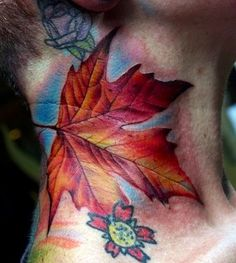 Photorealistic maple leaf tattoo--this is what I want!