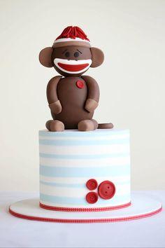 SOCK Monkey Baby Cake Toppers SETEdible Vanilla FondantBABY showerSpecial DecorationsCake Supplies