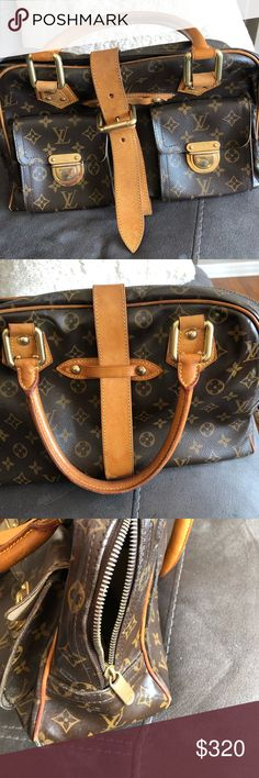 LOUIS VUITTON AUTHENTIC MANHATTAN GM Authentic LOUIS VUITTON MANHATTAN GM . Leather good condition. Scratches to hardware. Canvas poor condition with exposed piping, smoothing, burn mark. Inside staining. Nonetheless very heavy well made bag with lots of life left. Louis Vuitton Bags