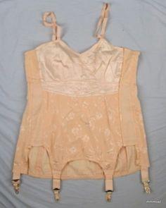 Vintage 1920s 30s LADY-LYKE CORSET Peach Jacquard Sz 40 (06/29/2011)