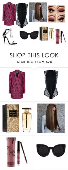 """""""))"""" by maria-surova ❤ liked on Polyvore featuring Balmain, Kylie Cosmetics and Marchesa"""