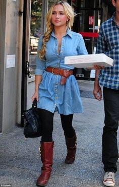 Love the denim dress with the belt, super cute!