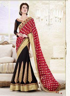 Designer full sleeve black and red lehenga saree with 42% discount  #lehengasaree