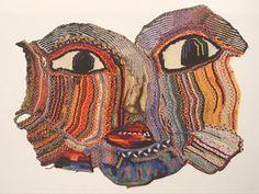 Sculpture Textile, Art Textile, Textile Artists, Textile Design, Art Au Crochet, Freeform Crochet, Knit Crochet, Mixed Media Faces, Creative Textiles