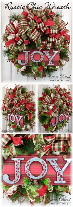 Wreath, Christmas Wreath, Joy, Holiday Decoration, Rustic, Rustic Chic, Door Decor,