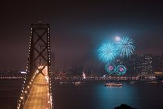 New Year's Eve fireworks over San Francisco Harbor. Photo by Marcin Wichary
