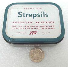 Vintage STREPSILS tin Boots the Chemist EMPTY box for throat lozenges c 1960s