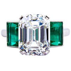Six Carat Emerald Cut Diamond Colombian Emerald Platinum Ring More