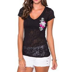 Metal Mulisha Maidens Juniors Flowers Burnout V-Neck