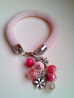Beaded Light Pink Bracelet - Toho Crochet Beaded Jewelry Beadwork