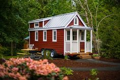 This 233 sq.ft. tiny house is available for nightly rental an hour outside Portland. Sleeps 5. Based on the Elm design by Tumbleweed Tiny House Company.