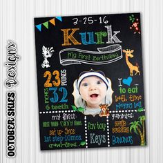 Safari Chalkboard Birthday Poster /  Milestone Poster / Any Age /  Jungle / Digital File / Printable by OctoberSkiesDesigns on Etsy