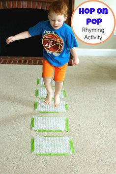Hop on Pop book activity - Have students say a rhyming word each time they jump on bubble wrap.