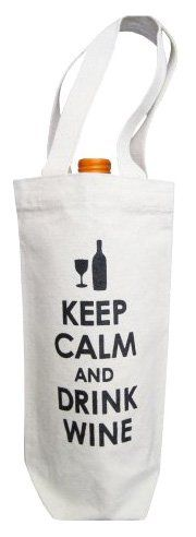 Cool Bag-- Towne9 Recycled Cotton Canvas Wine Bag, Keep Calm & Drink Wine Design, Black Print