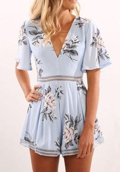 7a2f63dba0d Sky Blue Floral Hollow-out Sewing High Waisted Casual Short Jumpsuit