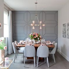 Modern Dining Room Design Ideas - Modern dining room decor ideas: Thrill your guests with these contemporary design ideas. Dining Room Walls, Dining Room Design, Dining Room Feature Wall, Modern Dining Room Chairs, Grey Dining Room Chairs, Dining Room Paneling, Grey Feature Wall, Dining Room Wallpaper, Living Room Designs