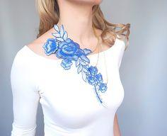 statement necklace // large flower lace bib //  gold by LaceFancy