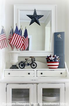 4th of July Decor In the Living Room House Holidays and Vignettes