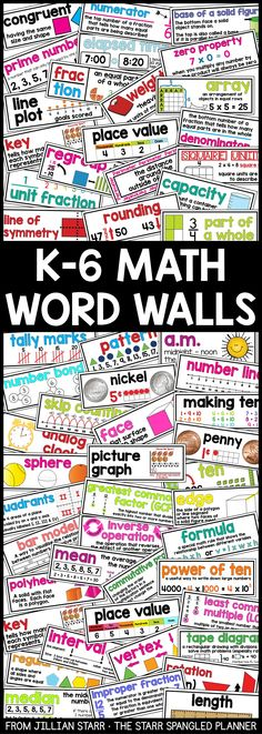 Math Word Walls have been a total game changer in my classroom! Now my students actively use the vocabulary cards on our bulletin board to remind them of key concepts. These Math Word Wall Cards are Common Core aligned and available for Kindergarten, First Grade, 2nd, 3rd, 4th, 5th and 6th. #mathtutor