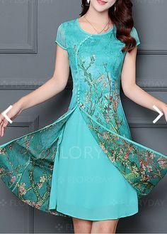 Chiffon floral cap sleeve knee length dresses 1061112 @ floryday com Stylish Dresses, Cute Dresses, Casual Dresses, Fashion Dresses, Cute Outfits, Batik Dress, Lace Dress, Chiffon Dresses, Knee Length Dresses