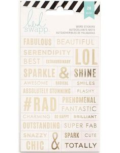 HEIDI SWAPP: Word Stickers (Clear) Add that personal touch and flare to your plans with these fun word stickers! Package contains (1) 4x6 sticker sheet, twenty eight designs total.                                                                                                                                                                                 More
