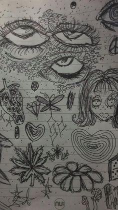 Indie Drawings, Dark Art Drawings, Art Drawings Sketches Simple, Cool Drawings, Tattoo Sketches, Arte Grunge, Grunge Art, Grunge Vintage, Arte Van Gogh