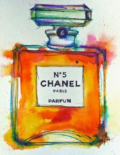 Tracey Fletcher King- Chanel perfume bottle illsutration in watercolour and ink