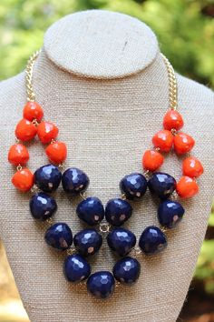 Peach Roots - GameDay Necklace- Orange and Navy, $20.00 (http://peachroots.com/gameday-necklace-orange-and-navy/)