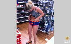 Is she seriously trying on boys underwear in the middle if the store?? Funny People Shopping in WalMart