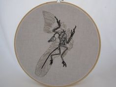 Archaeopteryx Fossil Embroidered Hoop Art by HistoriaNaturale