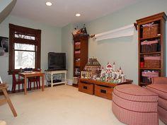 Attic playroom with natural trim Natural Wood Trim, Attic Playroom, Woodworking, Real Estate, Victorian, Paint, The Originals, Interior, House