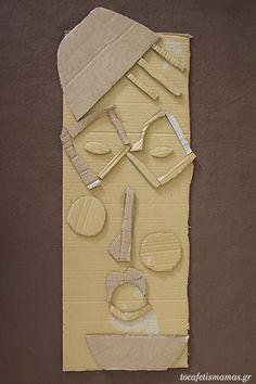 Πρόσωπα από χαρτόκουτα. - To Cafe tis mamas Gloves, Diy Crafts, Leather, Craft, Diy Home Crafts, Mittens, Do It Yourself Crafts