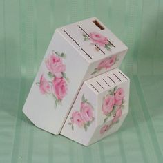 Shabby HP Hand Painted Roses Knife Block Holder Chic | eBay