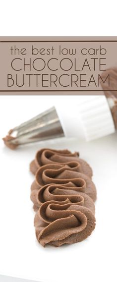 You're going to love this sugar-free chocolate buttercream. Perfect for frosting all of your low carb and keto cake recipes. #lowcarb #keto #sugarfree