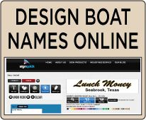 Design Boat Names Online at Signquick.com Pontoon Boat Party, Pontoon Boats, Funny Boat Names, Paula Poundstone, Houseboat Ideas, Sailboat Decor, Boat Food, Pontoons, Boat Interior