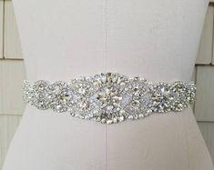 Wedding Belt, Bridal Belt, Sash Belt, Crystal Rhinestone & Off White Pearls - Style B200599C