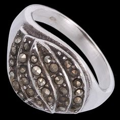 Sterling silver ring, marcasite, oval
